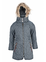 Kids Fur Detachable Hood Quilted jacket