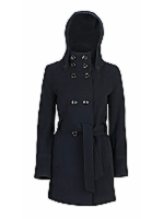 Florence DB belted high neck coat with detachable hood