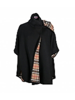 Check Scarf Cape Detailed check scarf mid length cape
