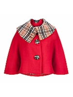 Collar Cape with Check check detail