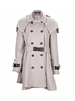 Leather Trim Skirt Coat DB Coat with waist, cuff and shoulder detail